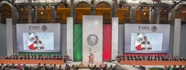 Vista panorámica en el discurso del Presidente Enrique Peña Nieto, en el Tercer Informe de Gobierno.