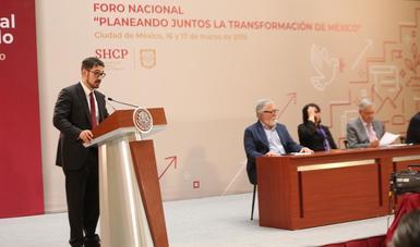 """Román Meyer Falcón, Secretario de Desarrollo Agrario, Territorial y Urbano, en el marco del Foro Nacional """"Planeando Juntos la Transformación de México"""""""