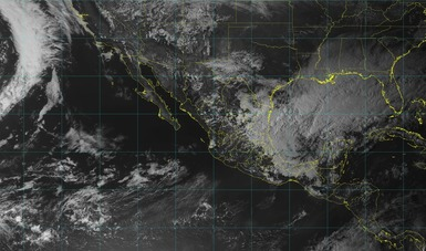 Imagen satelital de la república mexicana que muestra la nubosidad y temperatura en estados del territorio nacional. Logotipo de Conagua.