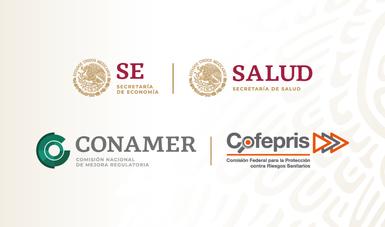 Logos de SE, Secretaria de Salud, CONAMER y Cofepris