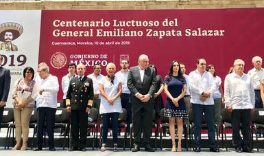 Román Meyer Falcón acompañó al presidente de México, Andrés Manuel López Obrador a la ceremonia del Centenario Luctuoso del General Emiliano Zapata