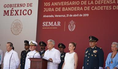 Presidente López Obrador encabeza ceremonia del 105 aniversario de la Defensa Patriótica del puerto de Veracruz