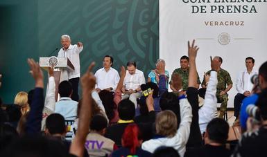 El presidente de México, Andrés Manuel López Obrador, en la conferencia matutina desde Veracruz, Veracruz.