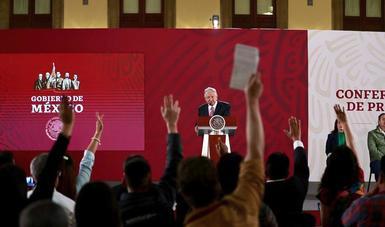 El presidente de México, Andrés Manuel López Obrador, en Palacio Nacional durante la conferencia de prensa de esta mañana.