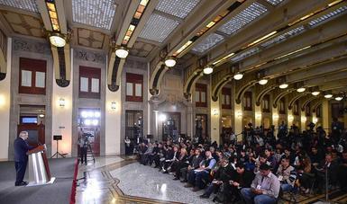 El presidente de México, Andrés Manuel López Obrador, durante la conferencia matutina desde Palacio Nacional.