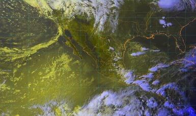 Imagen satelital de la república mexicana que muestra la nubosidad y temperatura en los estados. Logotipo de Conagua.