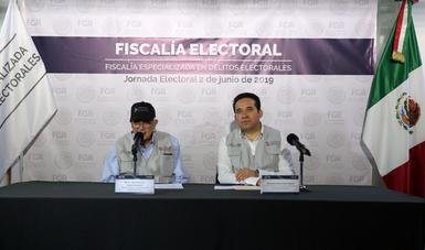 La Fiscalía Especializada en Delitos Electorales se mantiene alerta en el desarrollo de la Jornada Electoral en seis entidades.