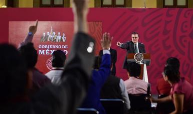 Marcelo Ebrard, secretario de Relaciones Exteriores, durante la conferencia de hoy desde Palacio Nacional.