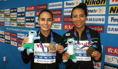 Se adjudicaron la medalla de bronce y la plaza a Tokio 2020 en trampolín tres metros sincronizados femenil.