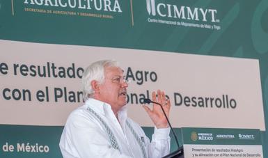 El titular de la Sader, Víctor Villalobos Arámbula,  participó en la Presentación de  resultados de MasAgro.