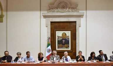 Secretaria de Gobernación, Olga Sánchez Cordero; Subsecretario de Derechos Humanos, Población y Migración, Alejandro Encinas; Comisionada Nacional de Búsqueda, Karla Quintana