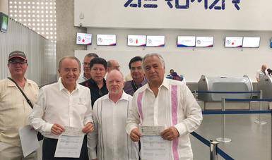 Inaugura Miguel Torruco, Secretario de Turismo de México el primer vuelo de CDMX A Tamuín, San Luis Potosí.