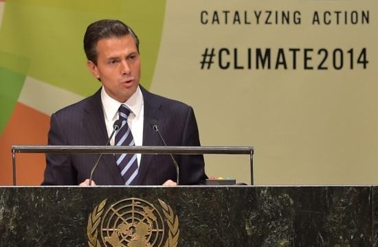 El Presidente Enrique Peña Nieto encabezó hoy, en la sede de la Organización de las Naciones Unidas (ONU), la Mesa Temática sobre Financiamiento de la Cumbre del Clima 2014