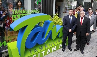 """El Secretario de Turismo de México, Miguel Torruco, con el gobernador de Tamaulipas, Francisco García Cabeza de Vaca, presentaron en """"Punto México"""", de Sectur, la nueva campaña promocional de Tamaulipas."""