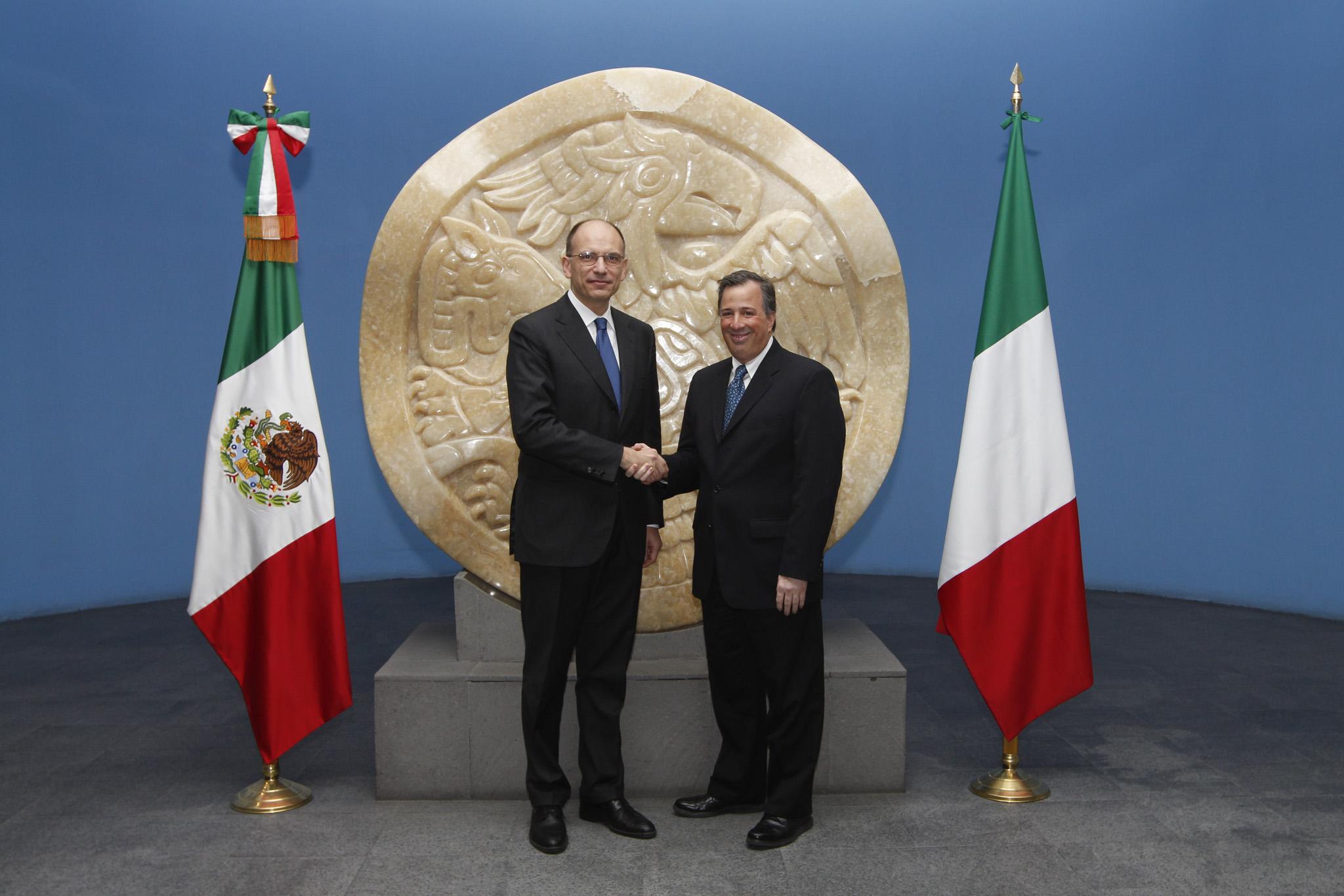 El presidente del Consejo de Ministros de la República Italiana, Enrico Letta, visitó la SRE