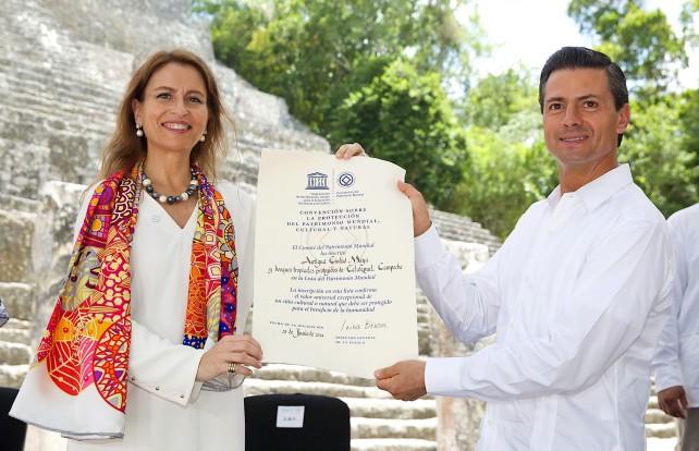 """uria Sanz Gallegos, representante para la UNESCO en México, afirmó que la cultura maya """"es la mejor representada en la lista del Patrimonio Mundial. No hay una sola cultura que tenga 11 lugares: siete culturales, dos naturales y dos mixtos""""."""
