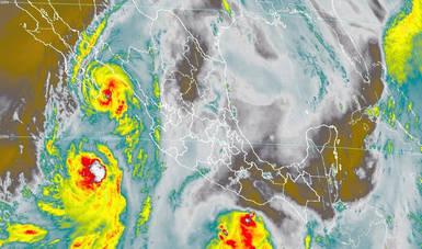 Imagen satelital con filtros infrarrojos que muestran nubosidad sobre el territorio nacional. Lorena, cercano a la franja costera de Cabo San Lucas, BCS. Logotipo de Conagua.
