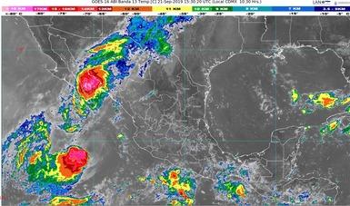 Imagen satelital de la república mexicana que muestra la nubosidad y temperatura en estados del territorio nacional. Logotipo de Conoagua.