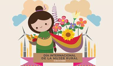 Iconocgrafía de mujer con rebozo en un fondo semejante al campo y la leyenda Día Internacional de la Mujer Rural 15 de octubre