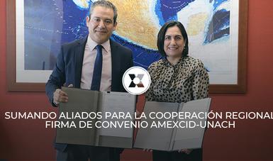 La firma del instrumento jurídico manifiesta la voluntad de construir una relación de colaboración con la Universidad para la implementación del Plan de Desarrollo Integral para El Salvador, Guatemala, Honduras y México.