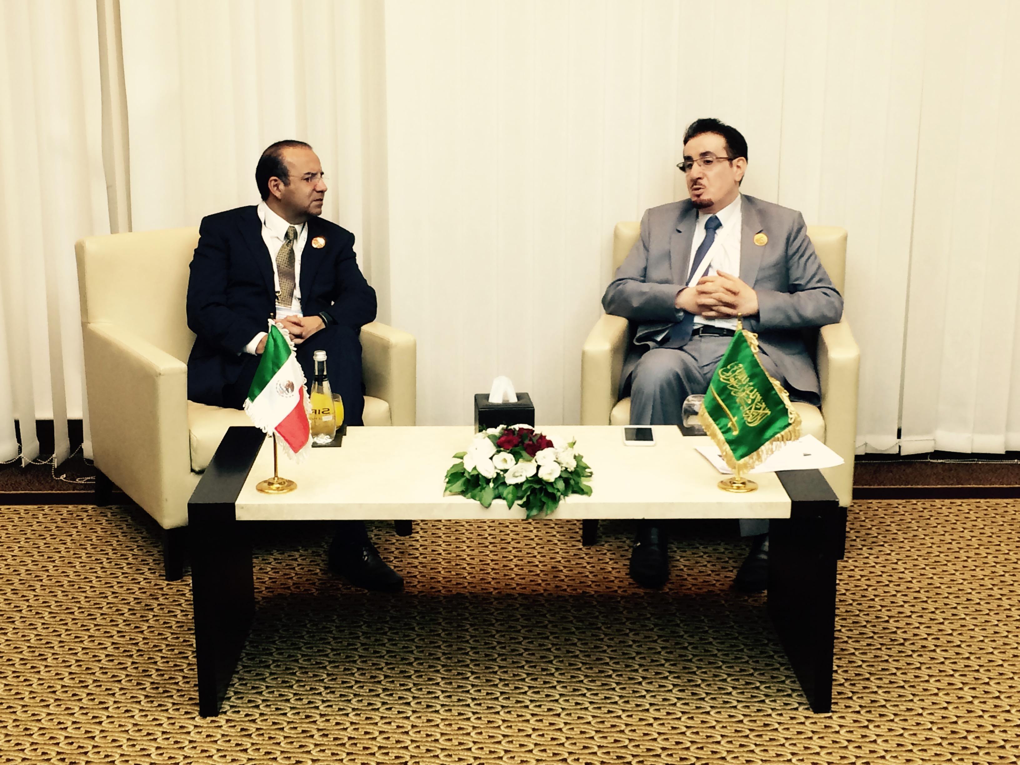 El Secretario Navarrete Prida, durante su reunión con el Ministro de Trabajo de Arabia Saudita, Mufrej al Haqbani.