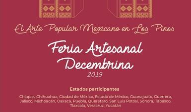 la Secretaría de Cultura, en colaboración con el Fondo Nacional para el Fomento de las Artesanías (Fonart) y el Complejo Cultural Los Pinos, presenta la feria artesanal decembrina El Arte Popular Mexicano en Los Pinos.