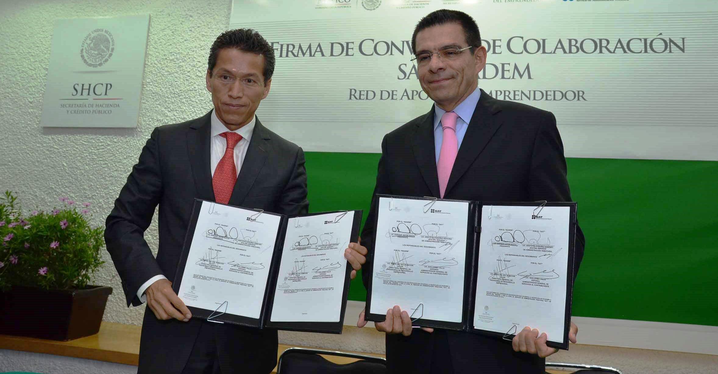 Firman acuerdo de colaboración INADEM y SAT