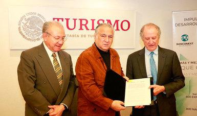 El secretario de Turismo y el director general del Banco Nacional de Comercio Exterior, S.N.C. (Bancomext) y Nacional Financiera, S.N.C. (Nafin), firmaron un Convenio de Colaboración que tiene como propósito fortalecer al turismo en México.