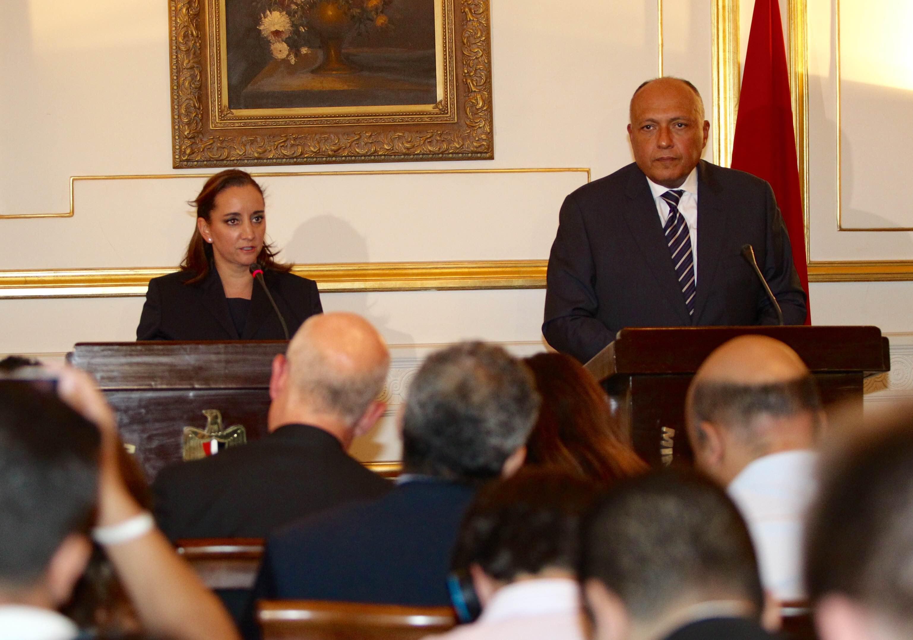 Cancilleres de Méxco y Egipto, Cludia Ruiz Massieu y Sameh Shoukry