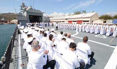 """Se realizó de manera oficial la entrega de la Patrulla Oceánica de Largo Alcance ARM """"REFORMADOR"""" (POLA 101)"""