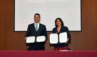 Función Pública firma convenio de colaboración con el Órgano Interno de Control de la FGR, para fortalecer el combate a la corrupción