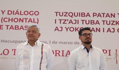 Andrés Manuel López Obrador, presidente de México y Román Meyer Falcón, secretario de Desarrollo Agrario, Territorial y Urbano.