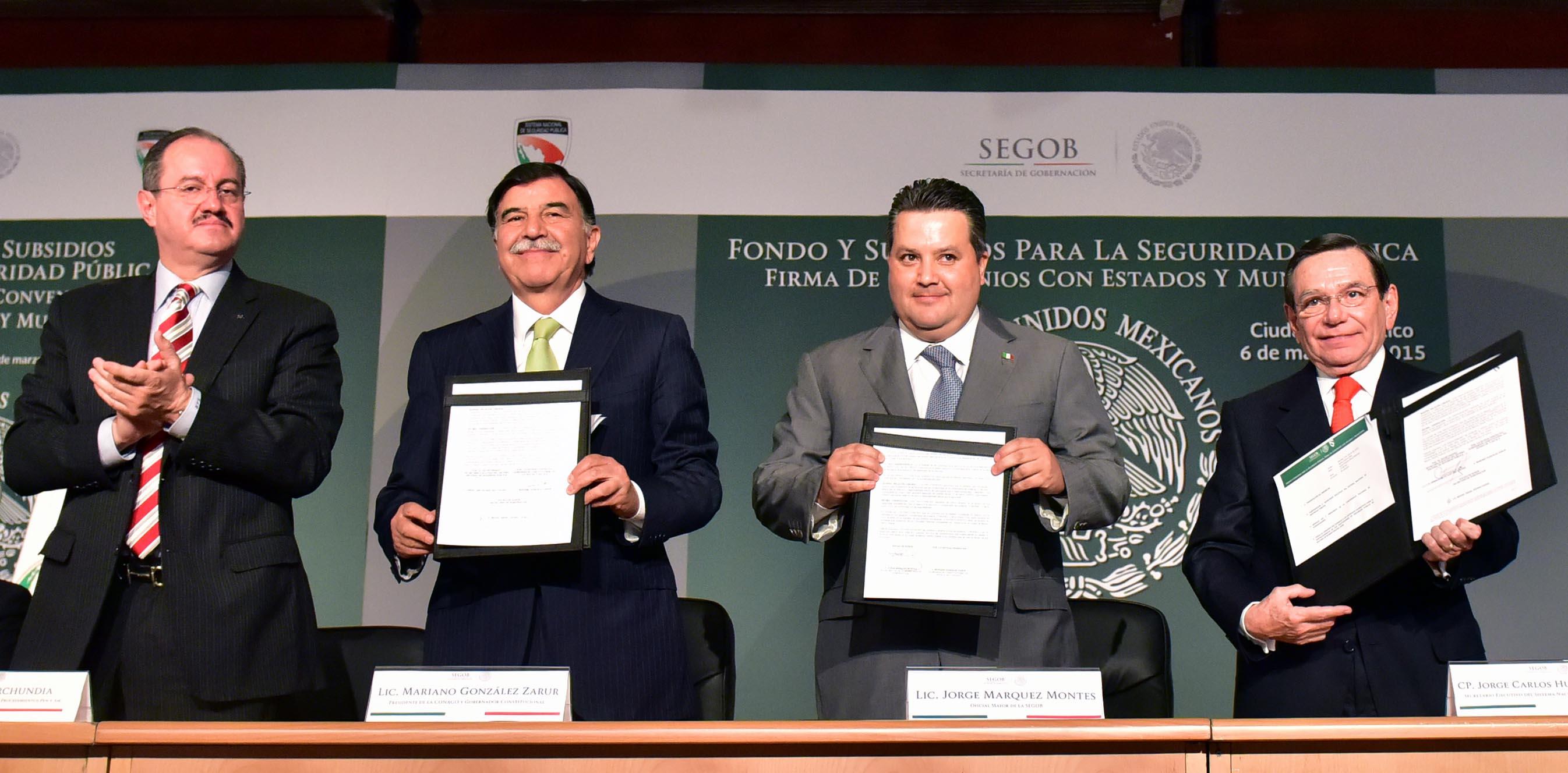 Firma de Convenio con Estados y Municipios Beneficiarios del Fondo y Subsidio a la Seguridad Pública.
