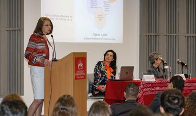 """Conferencia magistral """"La inserción internacional de México"""" en la Universidad Iberoamericana"""