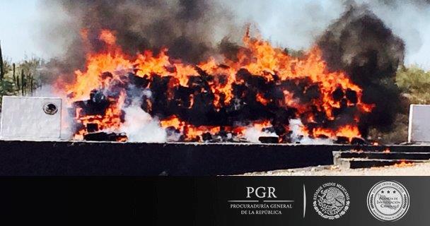 PGR incineró 22 toneladas 108 kilos 657 gramos 300 miligramos de narcóticos.