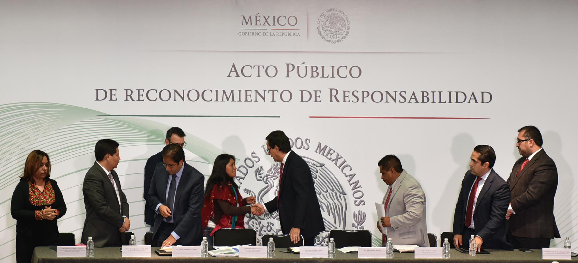 El Subsecretario de Derechos Humanos, Roberto Campa Cifrián, una disculpa pública a nombre del Estado mexicano.