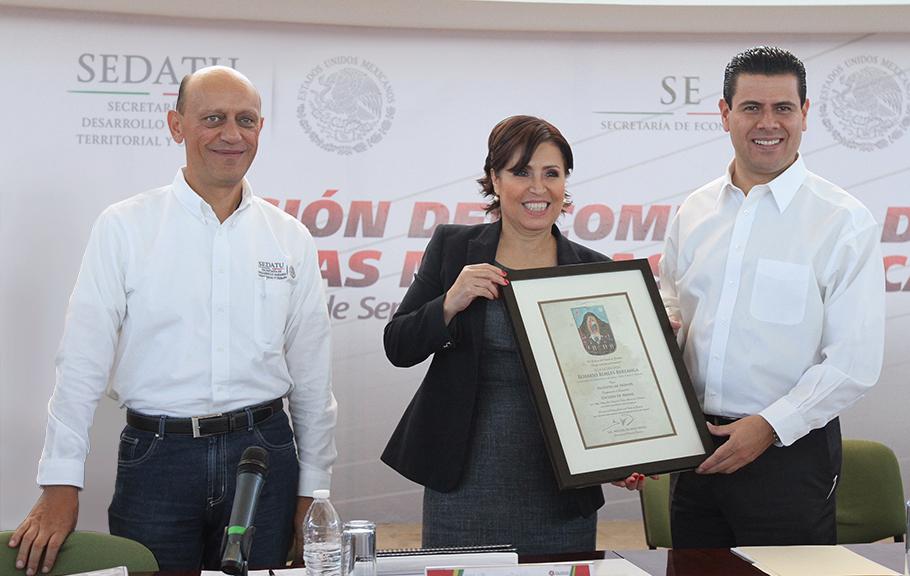 La Titular de SEDATU, Rosario Robles Berlanga, al instalar y presidir la primera sesión del Comité de Desarrollo Regional para las Zonas Mineras de Zacatecas.