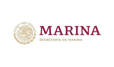 Escudo nacional, del lado derecho la leyenda Marina y en segundo renglón Secretaría de MArina
