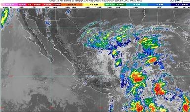 Imagen satelital con filtros infrarrojos que muestra nubosidad sobre el territorio nacional. Logotipo de Conagua.