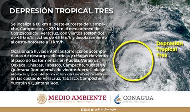 Imagen satelital con la descripción meteorológica de la Depresión Tropical Tres. Logotipo de Semarnat y Conagua.