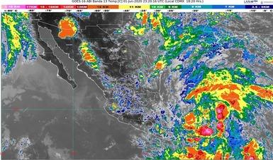 Imagen satelital que muestra nubosidad sobre el territorio nacional Logotipo de Conagua.