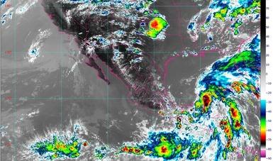 Imagen satelital con filtros infrarrojos que muestran nubosidad sobre el territorio nacional. Logotipo de Conagua.