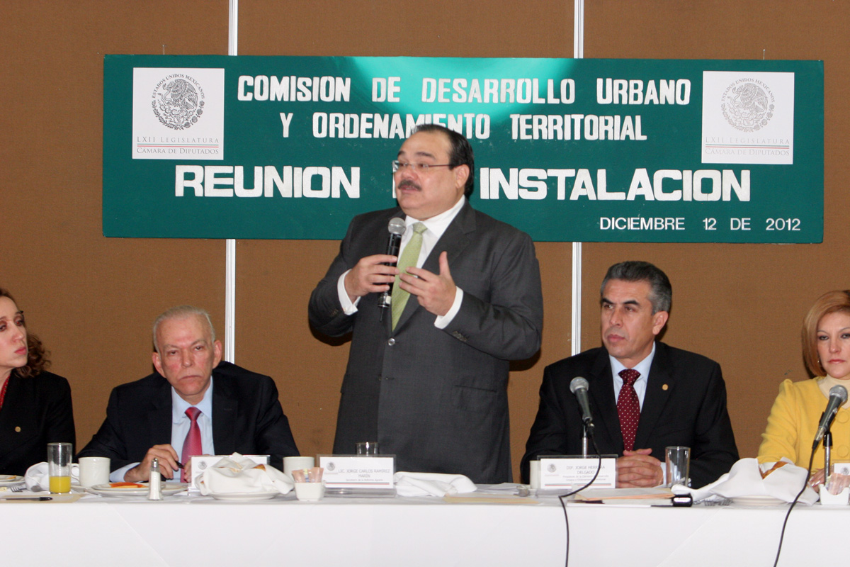 El Secretario de la Reforma Agraria, Jorge Carlos Ramírez Marín, durante la instalación de la Comisión de Desarrollo Urbano y Ordenamiento Territorial de la Cámara de Diputados.