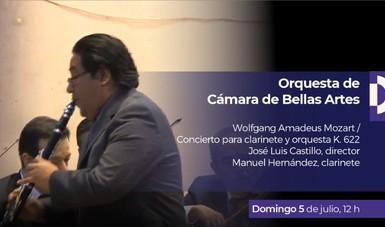 La Orquesta de Cámara de Bellas Artes (OCBA) interpreta el Concierto para clarinete y orquesta, K. 622 de Wolfgang Amadeus Mozart.