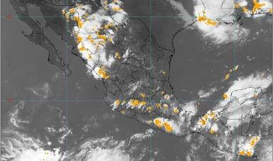 Imagen satelital con filtros de vapor de agua que muestran nubosidad sobre el territorio nacional. Logotipo de Conagua.