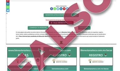 Alerta de página falsa para el registro de becarios de Educación Media Superior