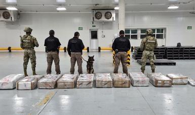 En trabajo conjunto se aseguraron 575 paquetes de presunta cocaína en Manzanillo, Colima