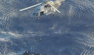 La embarcación sospechosa fue alcanzada por el helicóptero y mediante una maniobra de inserción vertical, el personal de Infantería de Marina realizó la inspección correspondiente.