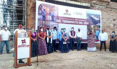 Evento de conmemoración del terremoto de 2017, realizado en el palacio municipal de Juchitán de Zaragoza que está en trabajos de reconstrucción.