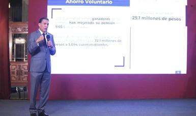 """Dr. Iván H. Pliego Moreno - Vocal Ejecutivo de AFORE PENSIONISSSTE durante la conferencia vespertina """"créditos a la palabra"""""""